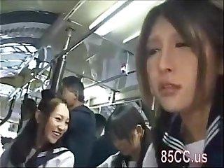Asian schoolgirls groped in a bus