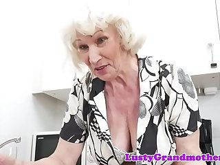 Hairy grandmother banged by young repairman