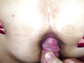 cuming on wide open wife's asshole