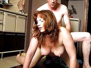 Chubby Busty Wife Fucked Doggystyle in the Kitchen
