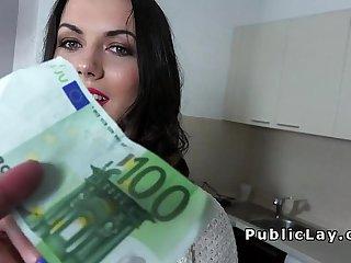 Brunette from public sucks big dick