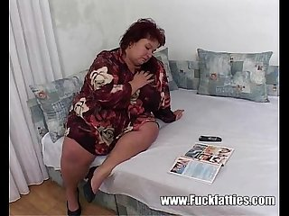 Horny Fatty Ordered Two Escort Boys To Service Her Pussy