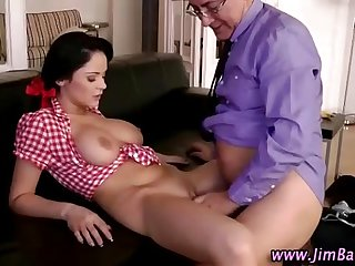 Older guy and younger babe fuck and oral