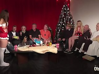 Old Young Orgy 9 Old Men 2 Teens hardcore Christmas group fuck special